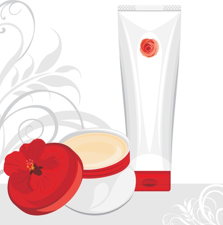 perfect skin: Cream containers on the ornamental background Illustration