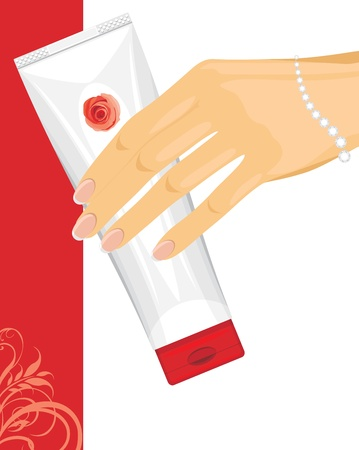 woman face cream: Cream tube in female hand Illustration