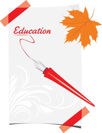 Feather pen and paper sheet with maple leaf Stock Vector - 21701120