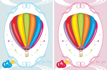 Greeting cards with air balloons for little boy and girl Vector