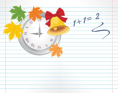illustration notepad: Notebook page with watch, maple leaves and school bell