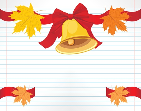 School bell with red bow and maple leaves on the notebook page Vector
