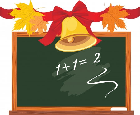 Chalkboard and school bell with red bow and maple leaves Vector