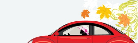 car leaf: Driving woman a red car on the abstract background with maple leaves
