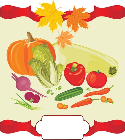 Vegetable background to the thanksgiving day Vector