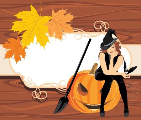 Halloween witch with a bat on the wooden background Vector