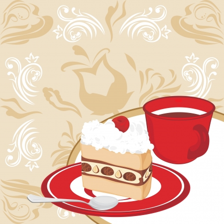 Saucer with cake and coffee cup on the ornamental background Vector