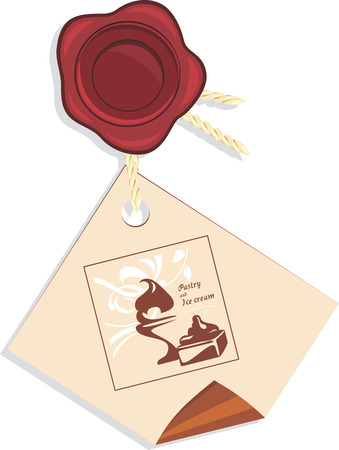 pastry shop: Wax seal with tag of a pastry and ice cream