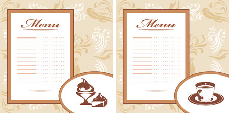 Drinks, pastry and ice cream  Menu card template Vector