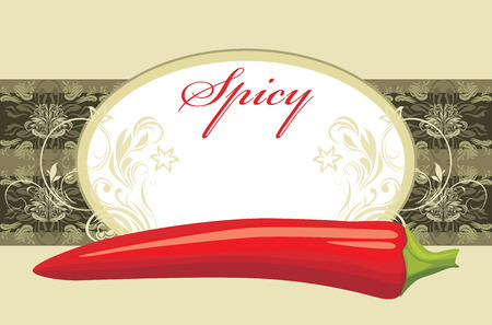 Chili hot pepper  Spicy  Label for design Vector