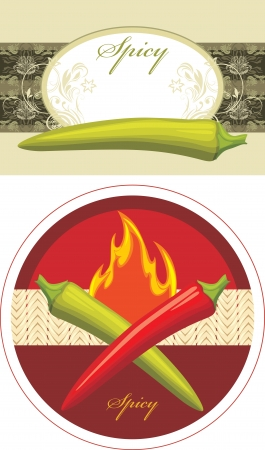 red jalapeno: Chili hot red and green peppers  Labels for design