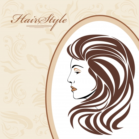 Portrait of elegant woman in ornamental frame  Hairstyle background Stock Vector - 22725466