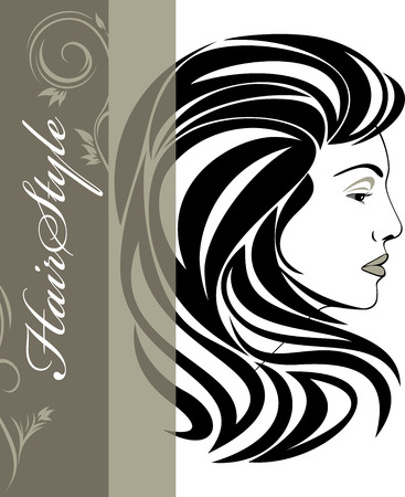 Portrait of elegant woman  Hairstyle banner Vector