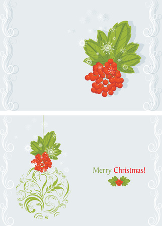 raceme: Ornamental Christmas ball with red berries bunch  Holiday card Illustration