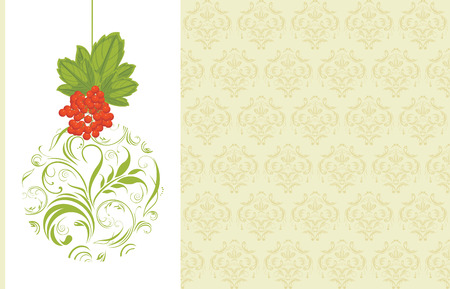 raceme: Ornamental Christmas ball with red berries bunch  Decorative background