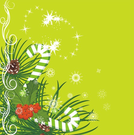comida de navidad: Abeto de Navidad con piñas, bastones de caramelo y acebo bayas racimo