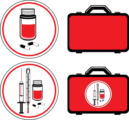 pill box: First aid kit and medical icons Illustration