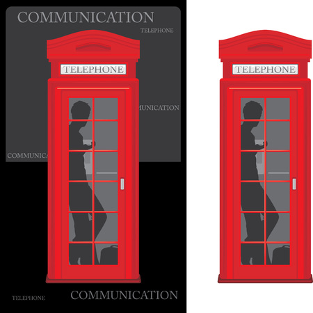 Telephone box isolated on the white and black Vector