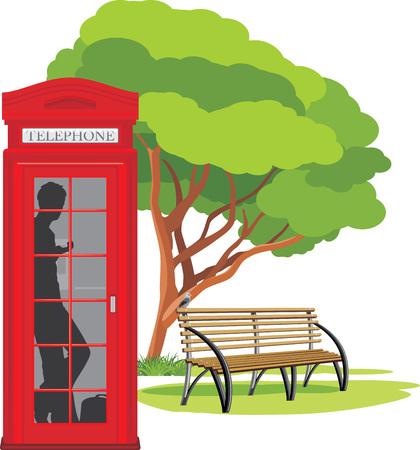 Telefooncel in het park Stock Illustratie