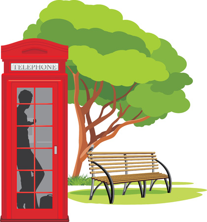Telephone box in the park Vector
