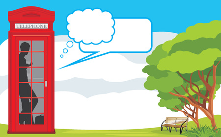 Telephone box on the landscape background Vector