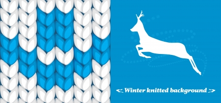 Winter knitted background  Banner for design Vector