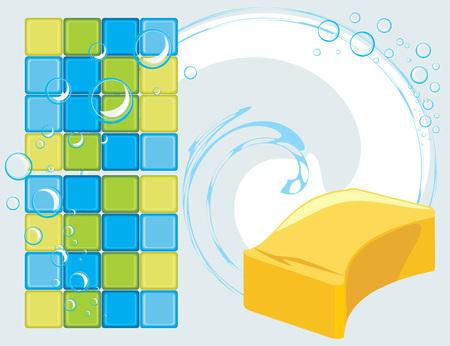 soapy: Mosaico de azulejos y esponja con burbujas de jab�n en el fondo abstracto Vectores