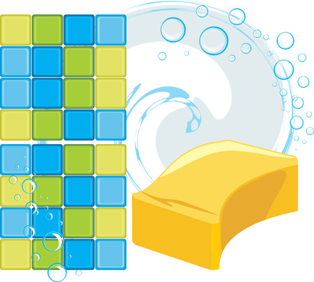 scour: Mosaic tiles and sponge with soapy bubbles