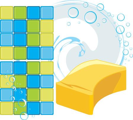 soapy: Mosaico de azulejos y esponja con burbujas de jab�n