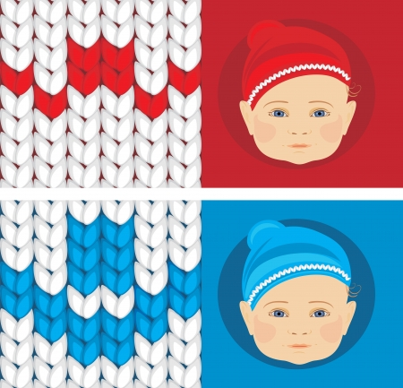Baby knitted caps  Banner for design Vector
