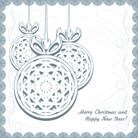 crewel: Knitted Christmas balls with snowflakes in the ornamental frame Illustration