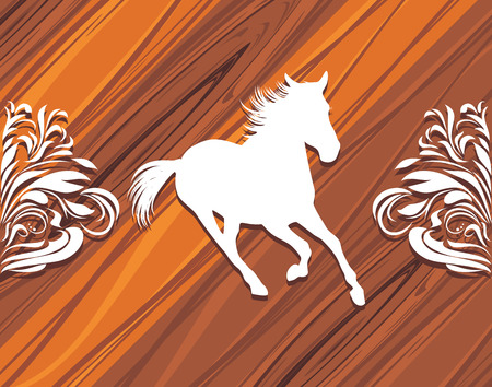 Silhouette of a hurrying horse on the wooden background Vector