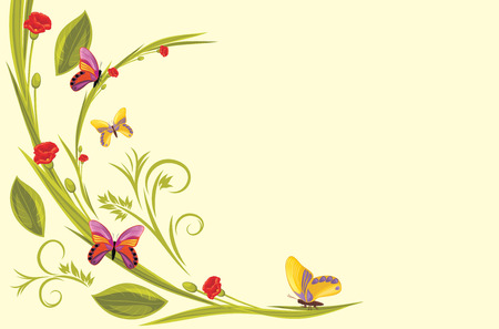 flora fauna: Decorative background with red flowers and butterflies