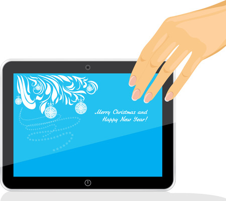Female hand holding tablet pc with Christmas screen saver Vector