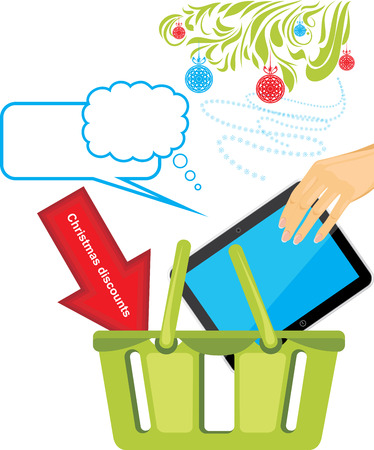 Tablet pc in a basket shop  Christmas discounts Vector