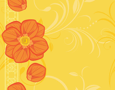 an inflorescence: Ornamental yellow background with blooming flowers