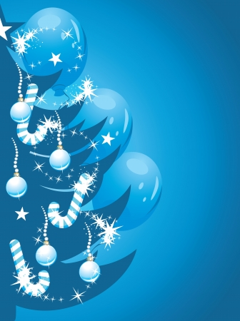 Shining Christmas tree on the dark blue background Vector
