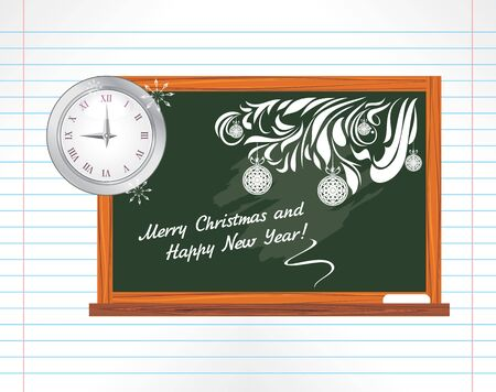 notebook page: Chalkboard on the notebook page  Christmas school holidays Illustration