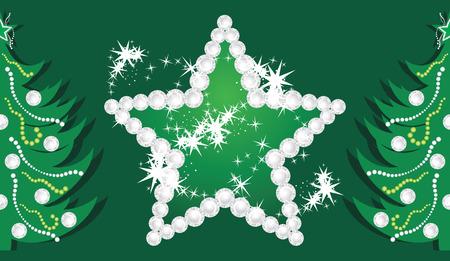 fondo verde oscuro: Estrella brillante y �rboles de Navidad en el fondo verde oscuro