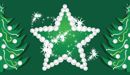 Shining star and Christmas trees on the dark green background Vector