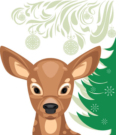 Fawn and Christmas tree Vector