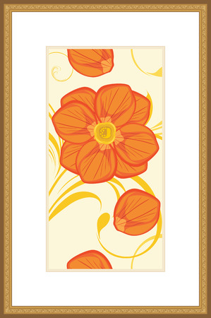 passe: Floral ornament in the golden frame Illustration