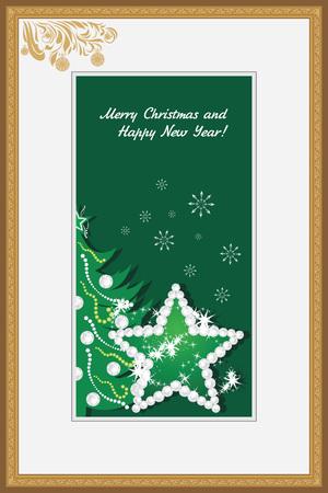 strass: Goldener Rahmen mit leuchtenden Stern und Weihnachtsbaum