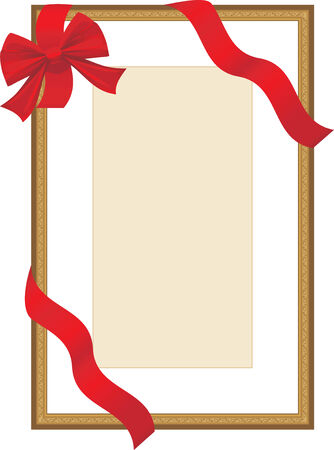 Golden festive frame with red ribbon Vector