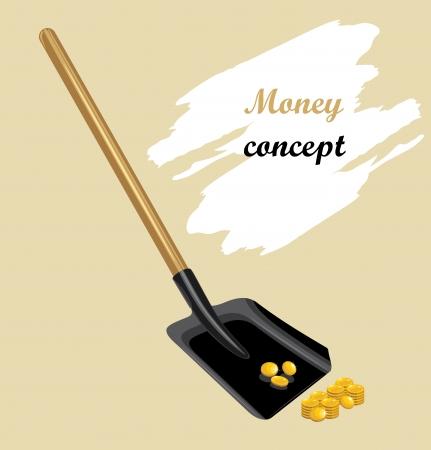gold shovel: Raking shovel a golden coins  Money concept Illustration