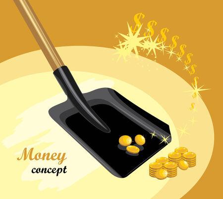 gold shovel: Shovel with golden coins  Money concept