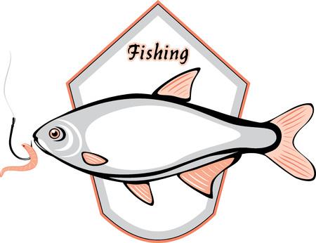 fischerei: Fisch-und Angelhaken mit einem Wurm-Label für Design