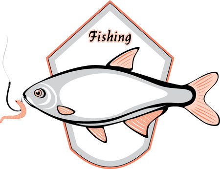 fluvial: Fish and fishing hook with a worm  Label for design Illustration