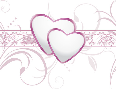 Ornamental background with shining hearts Vector