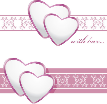Ornamental borders with shining hearts Vector